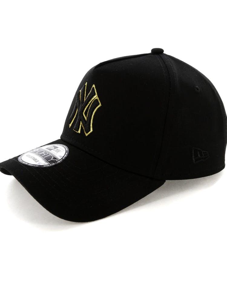 f8ef54fec24 New Era New York Yankees 9FORTY A-Frame Snapback Outline Black Gold ...