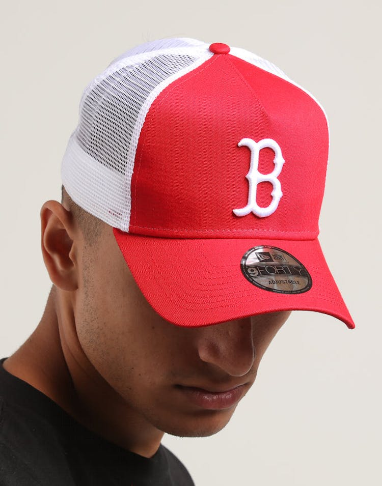 c4d6526235818c New Era Boston Red Sox 9FORTY A-Frame Trucker Snapback Scarlet/White ...