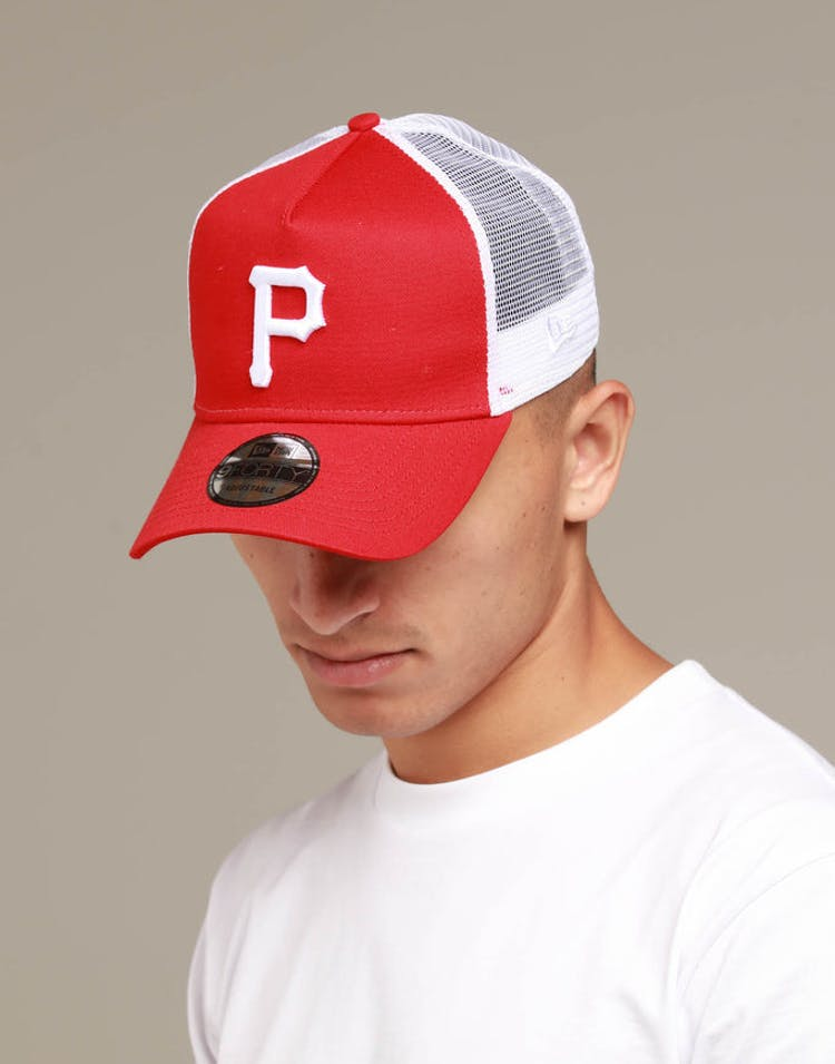 on sale 992da 068e5 New Era Pittsburgh Pirates 9FORTY A-Frame Trucker Snapback Scarlet Whi –  Culture Kings