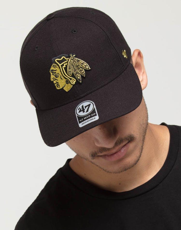 official photos 285e4 43052 47 Brand Blackhawks CZ Metallic MVP DP Strapback Black Gold – Culture Kings