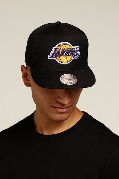 Mitchell   Ness Los Angeles Lakers Logo High Crown Snapback Black Yellow 31368c660c36