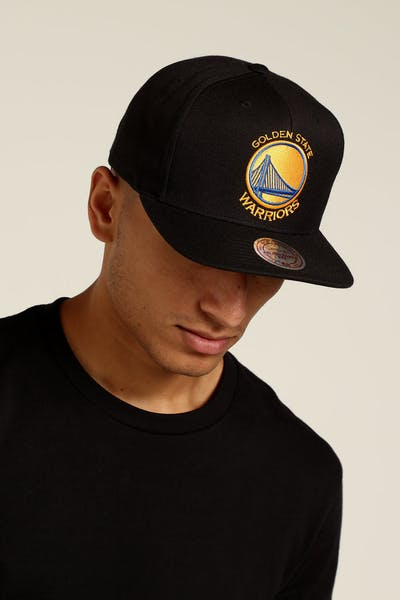 Mitchell & Ness Golden State Warriors Logo High Crown Snapback Black/Yellow