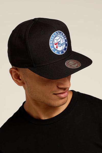 Mitchell   Ness Philadelphia 76ers Logo High Crown Snapback Black Blue White ffa7a9fde91d