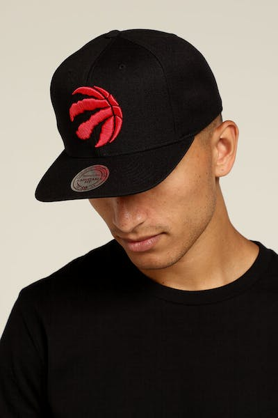 Mitchell   Ness Toronto Raptors Logo High Crown Snapback Black Red 3ad5f94ab11c