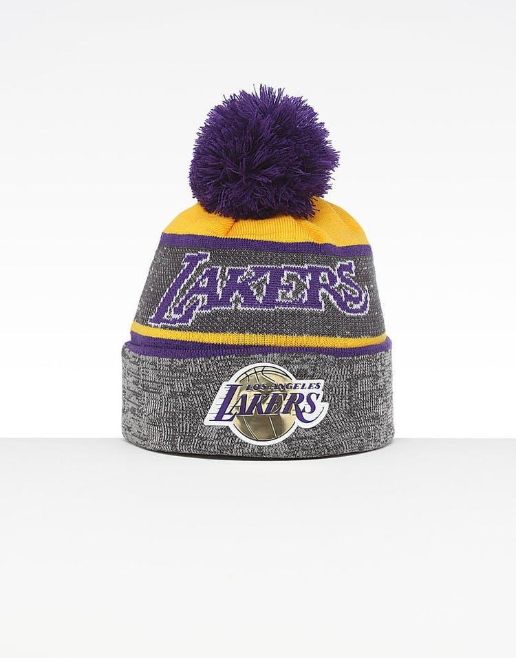 eb972884b443c Mitchell   Ness Los Angeles Lakers Team Knit HWC Beanie Grey Purple –  Culture Kings