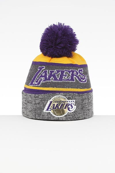 2e63583d3c7 Mitchell   Ness Los Angeles Lakers Team Knit HWC Beanie Grey Purple