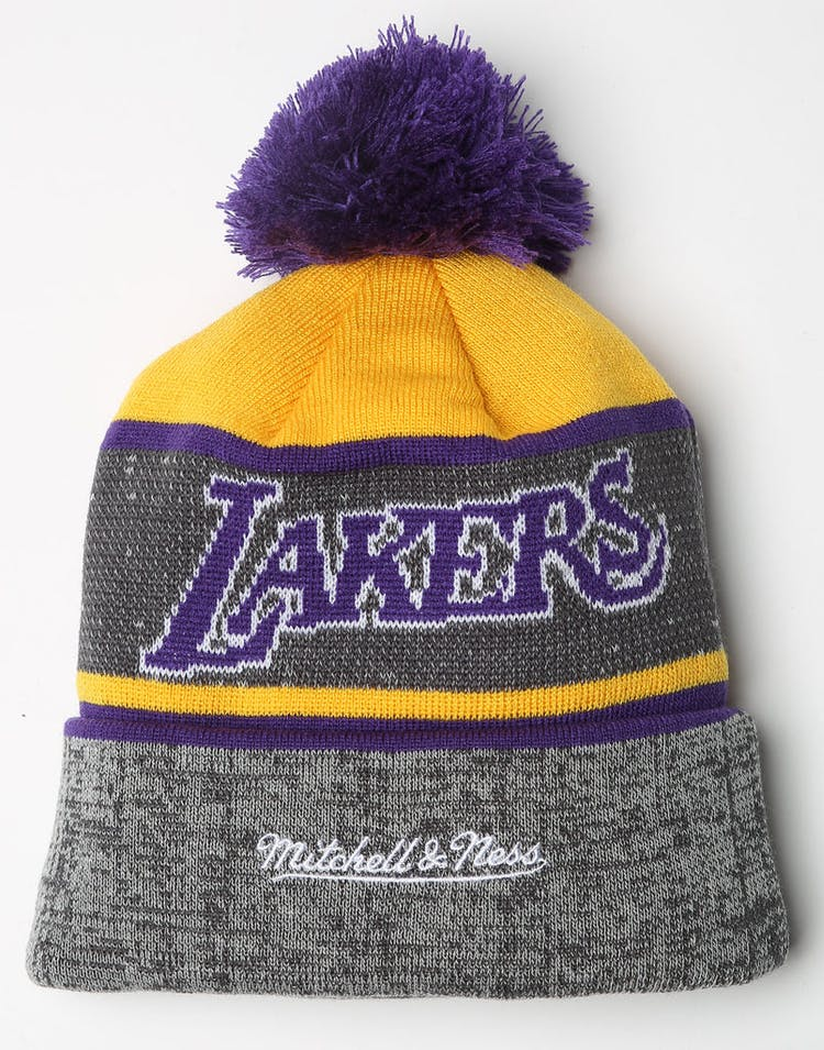 1d23135c4719d Mitchell   Ness Los Angeles Lakers Team Knit HWC Beanie Grey Purple ...