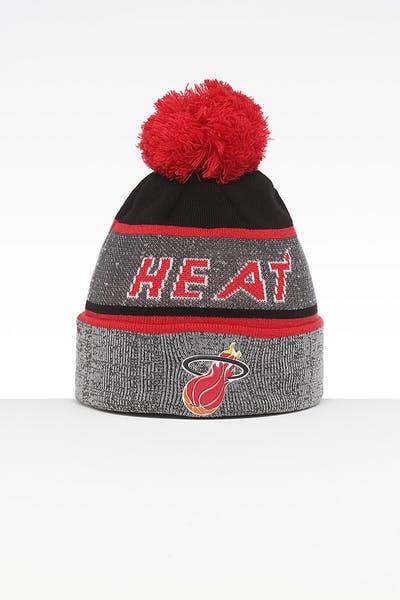 ee539deee05 Mitchell   Ness Miami Heat Team Knit HWC Beanie Grey Red