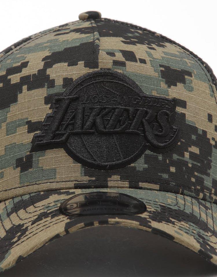 nice shoes 0a7cb 71fb4 New Era Los Angeles Lakers 9FORTY A-Frame Snapback Digi Camo Black