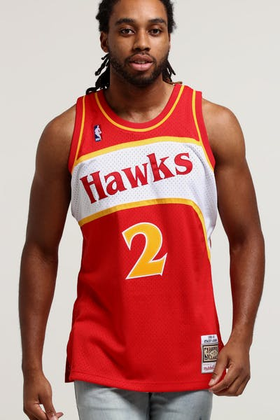 Mitchell   Ness Atlanta Hawks Stacey Augmon  2 Swingman NBA Jersey Red 2a99f42bbf