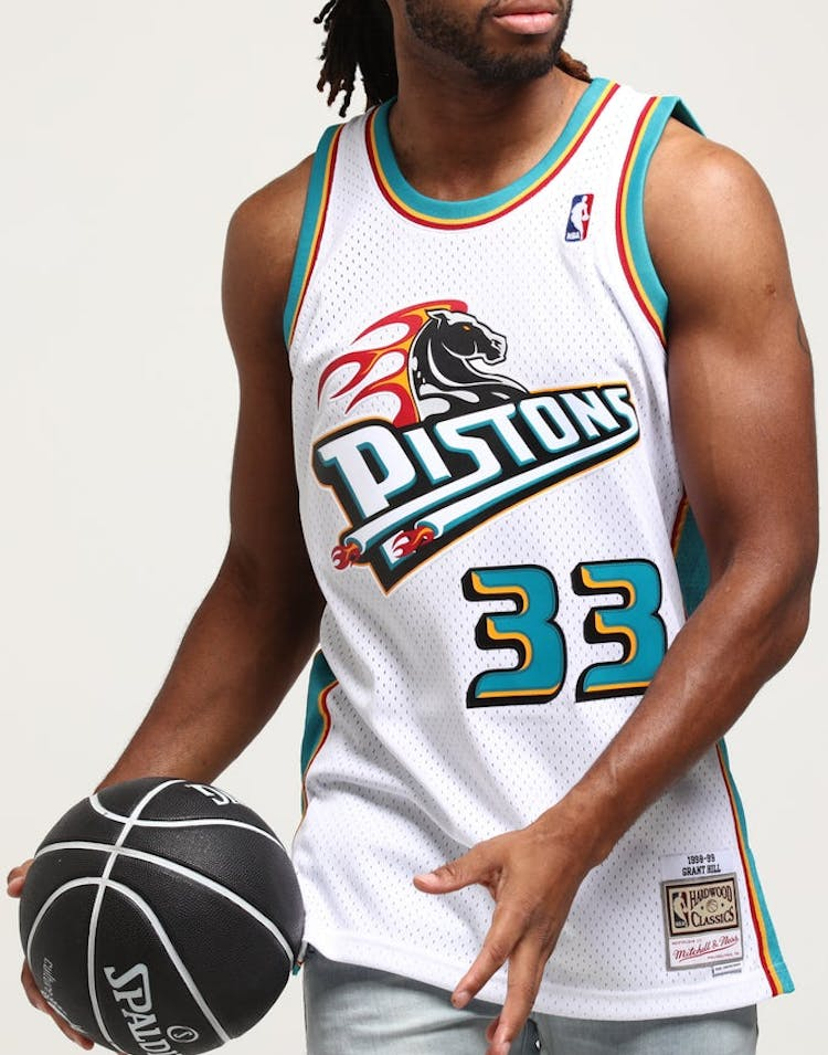 0788a1f67a7 Mitchell   Ness Detroit Piston Grant Hill  33 Swingman Jersey White –  Culture Kings