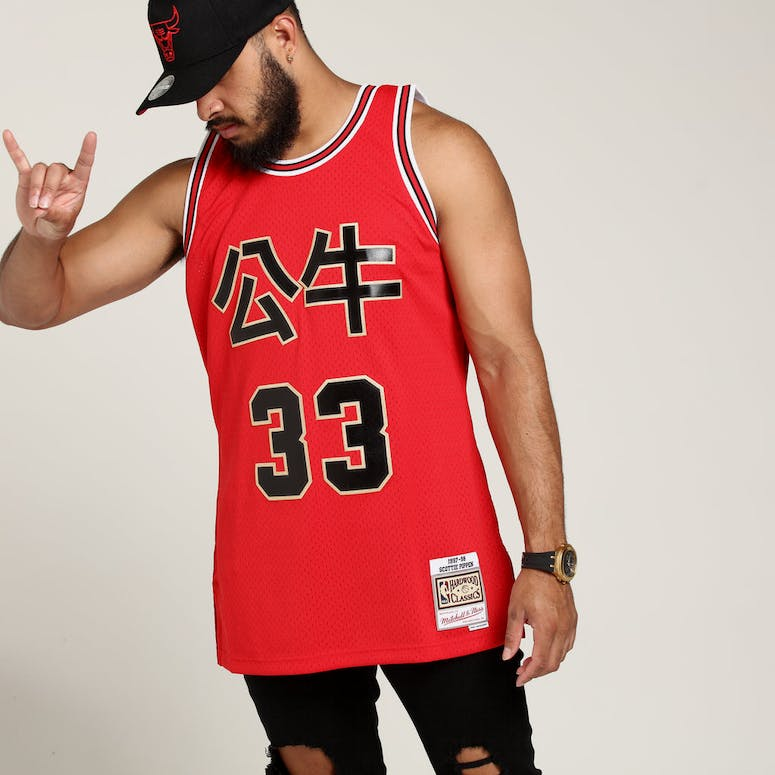 63f3f4971c6 Mitchell   Ness Chicago Bulls Scottie Pippen  33 Chinese NY Jersey ...