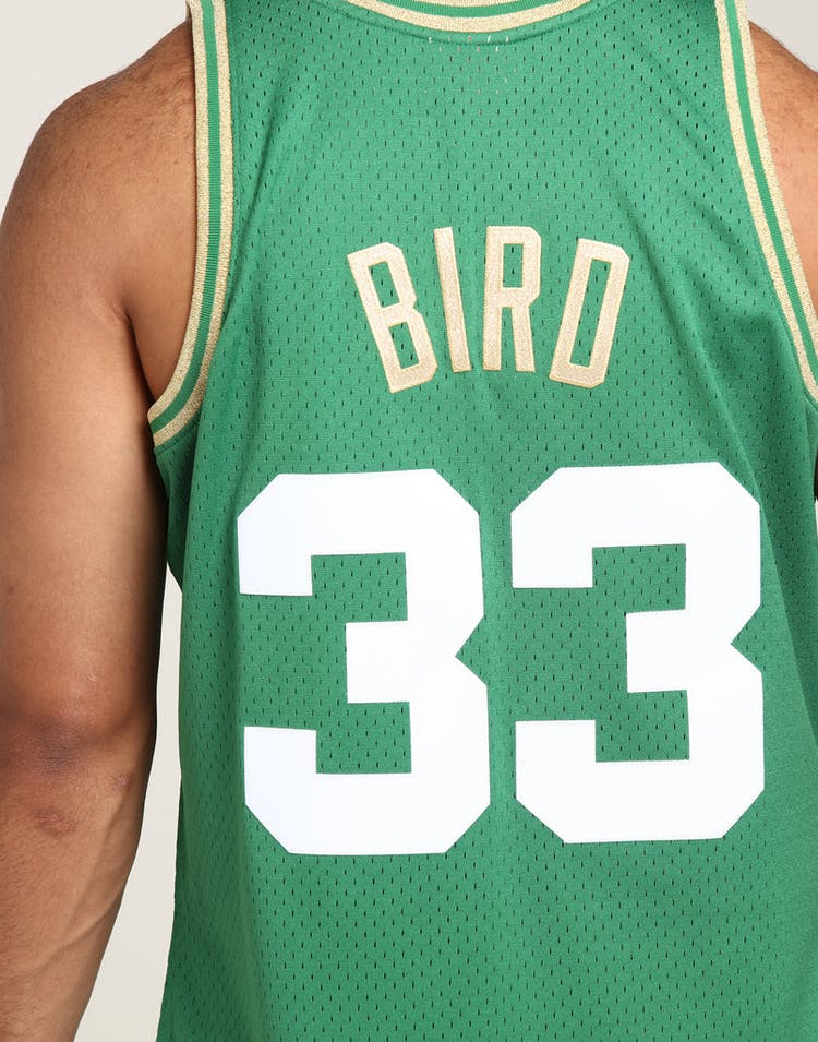 wholesale dealer 184c9 00c26 Mitchell & Ness Boston Celtics Larry Bird #33 Chinese NY Jersey Green