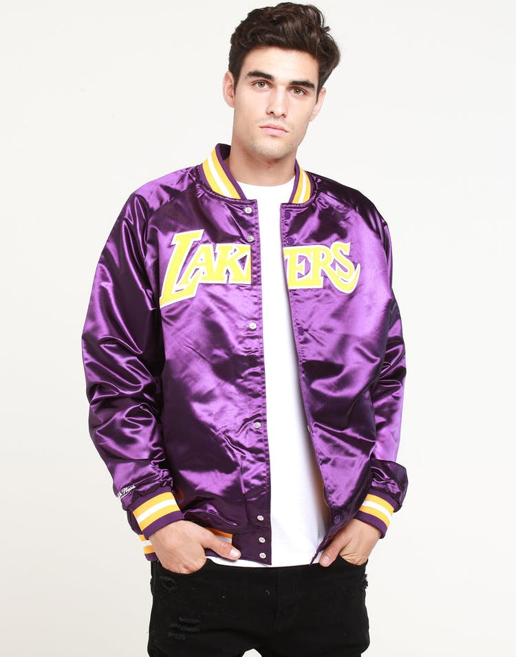 64ac3638ccc Mitchell   Ness Los Angeles Lakers Lightweight Satin Jacket Purple –  Culture Kings