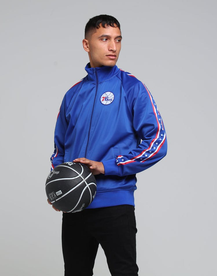 MITCHELL & NESS PHILADELPHIA 76ERS PANEL TRACK JACKET BLUE