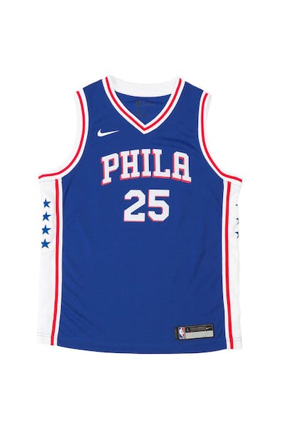 Nike Kids Philadelphia 76ers Ben Simmons #25 Nike Icon Edition Swingman Jersey Blue