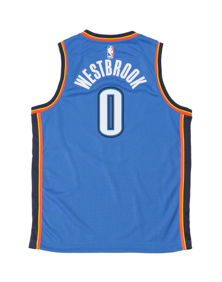 promo code 579c2 58d0e Russell Westbrook #0 Nike Icon Edition Youth Swingman Jersey Blue