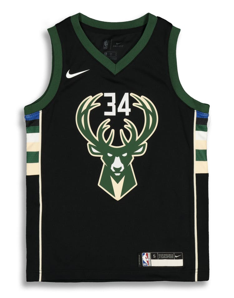 cheaper 1a1ff 5663e Nike Kids Milwaukee Bucks Giannis Antetokounmpo #34 Statement Swingman NBA  Jersey Black