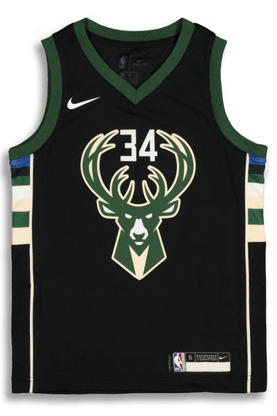 1a28e4ddf Nike Kids Milwaukee Bucks Giannis Antetokounmpo  34 Statement Swingman NBA  Jersey Black