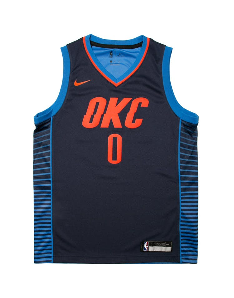 7a24e5da666d Russell Westbrook  0 Nike Statement Edition Youth Swingman Jersey Navy –  Culture Kings