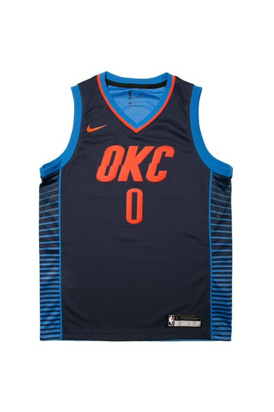 los angeles 574fa cf486 Russell Westbrook  0 Nike Statement Edition Youth Swingman Jersey Navy ...
