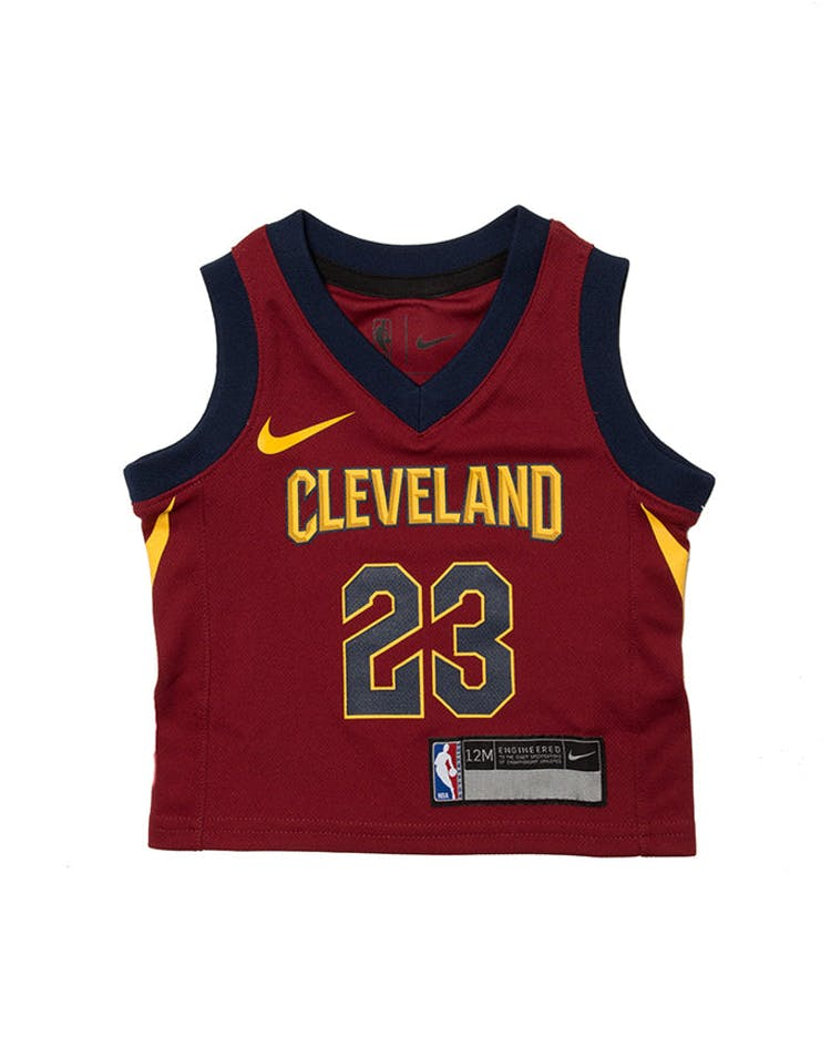 size 40 25301 20744 INFANT LEBRON JAMES #23 CLEVELAND CAVALIERS NIKE REPLICA JERSEY ICON  EDITION BURGUNDY