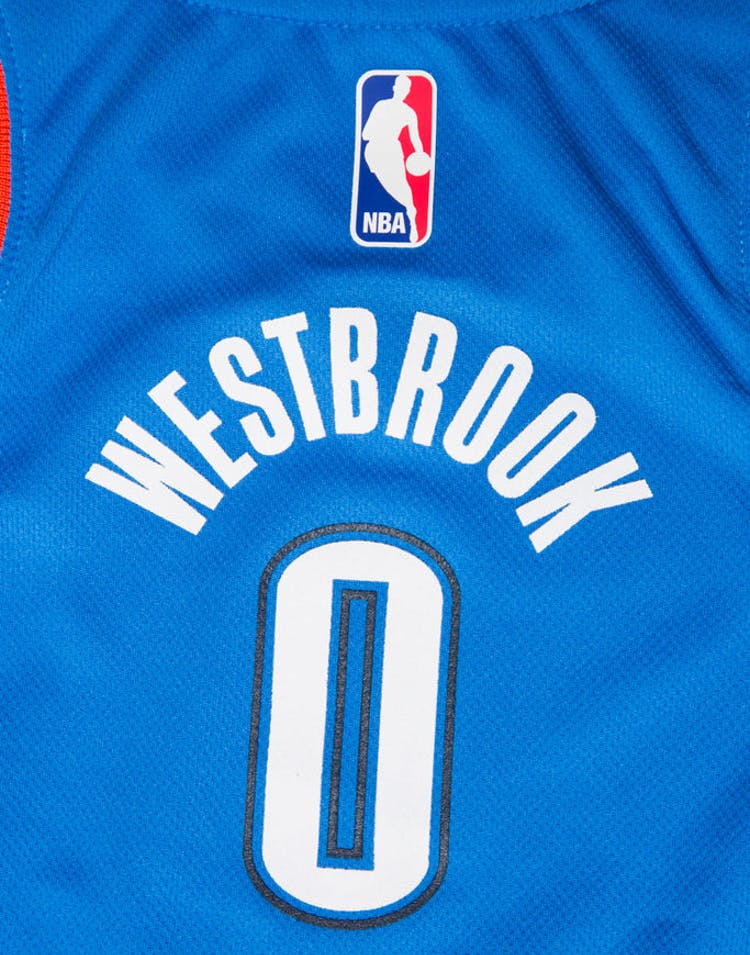 check out f1a04 79687 Nike Russell Westbrook #0 Oklahoma City Thunder Nike Replica Jersey Icon  Edition Blue