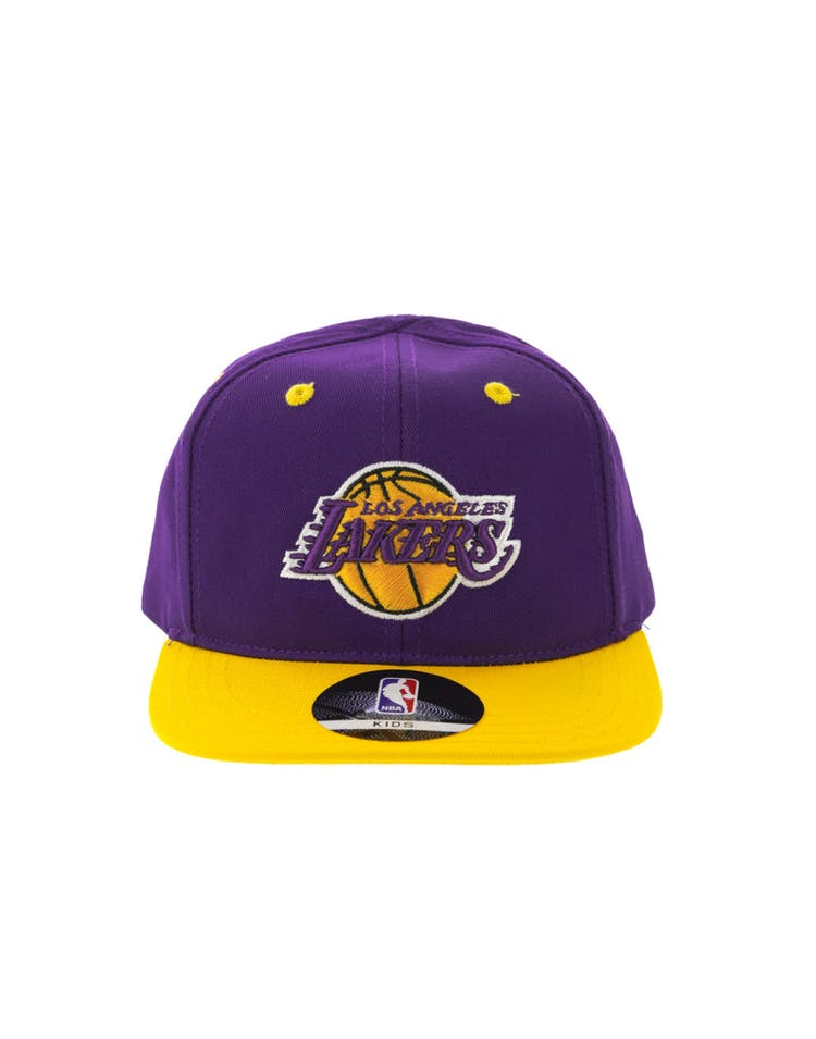 sports shoes 6fc93 4853d NBA Los Angeles Lakers 2-Tone Flat Brim Kids Snapback Purple Yellow
