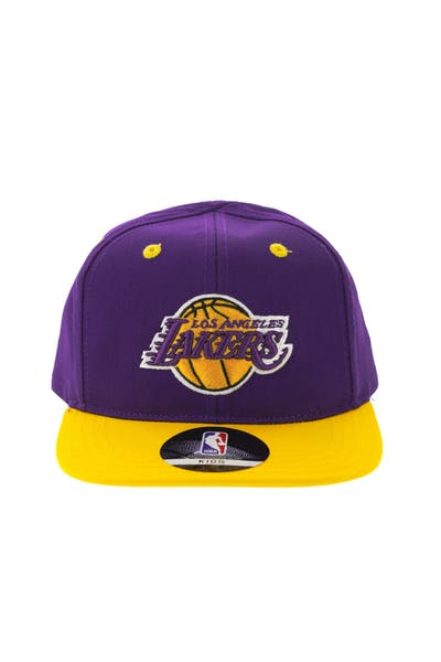 3d0de24408b NBA Los Angeles Lakers 2-Tone Flat Brim Kids Snapback Purple Yellow