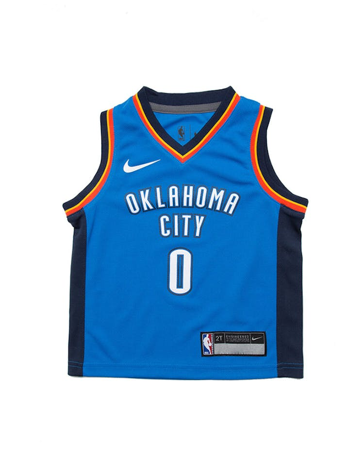 new product 37323 f2cc5 Toddler Russell Westbrook #0 Oklahoma City Thunder Nike Replica Jersey Icon  Edition Blue