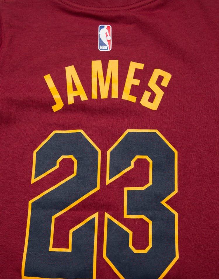 beae0afaa Toddler LeBron James #23 Cleveland Cavaliers Nike Icon N&N Tee Burgundy