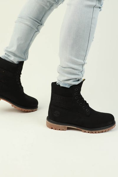 "Timberland 6"" Premium Perforated Leather Black/Yellow"