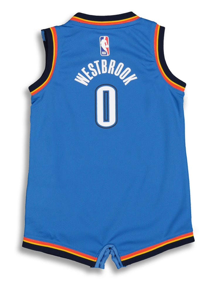 new style 50a40 43230 Nike Infant Oklahoma City Thunder Russell Westbrook #0 Replica Onesie NBA  Jersey Royal