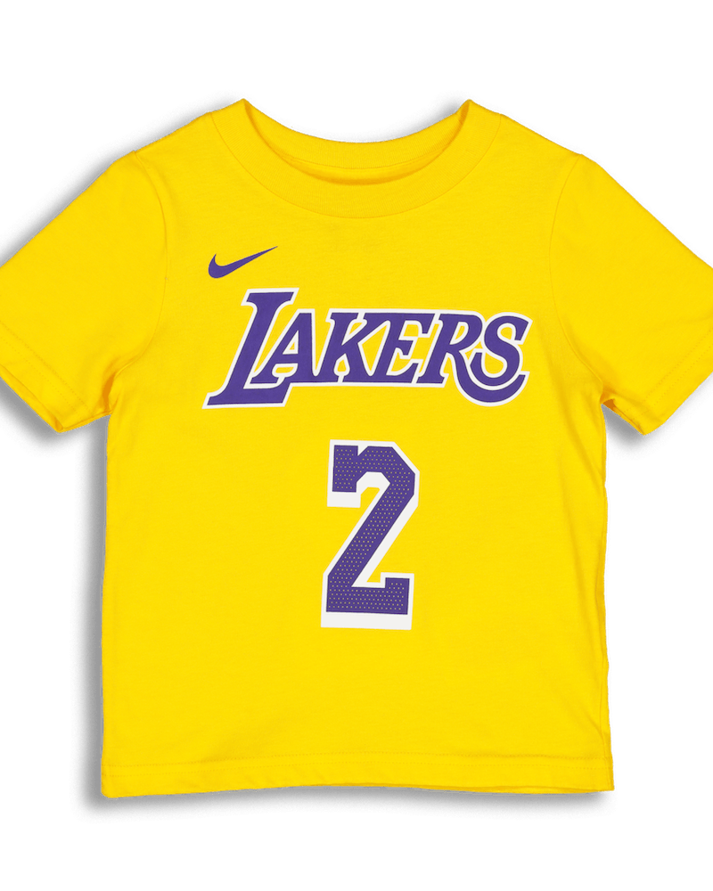 Nike Toddlers Los Angeles Lakers Lonzo Ball #2 Icon N&N Tee Yellow