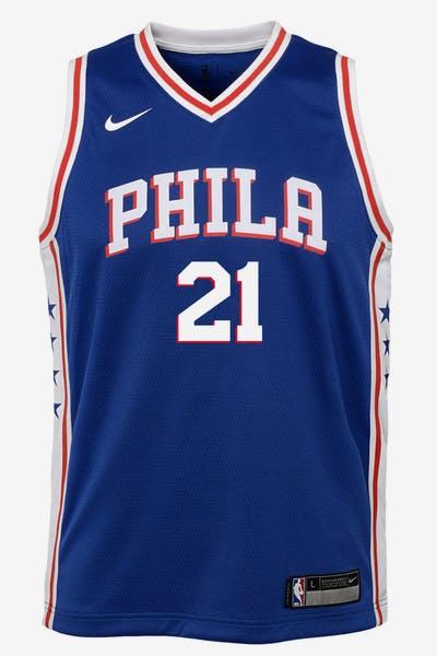 a9156041651 Nike Kids Philadelphia 76ers Joel Embiid  21 Icon Swingman NBA Jersey Navy