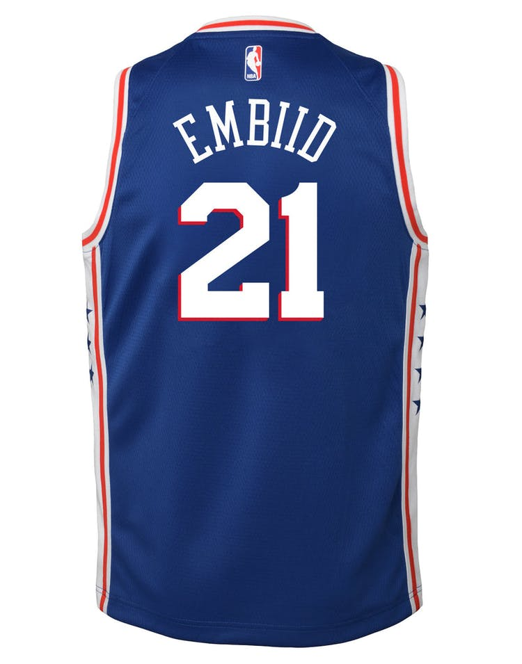 detailed pictures 0bc6e d8704 Nike Kids Philadelphia 76ers Joel Embiid #21 Icon Swingman NBA Jersey Navy