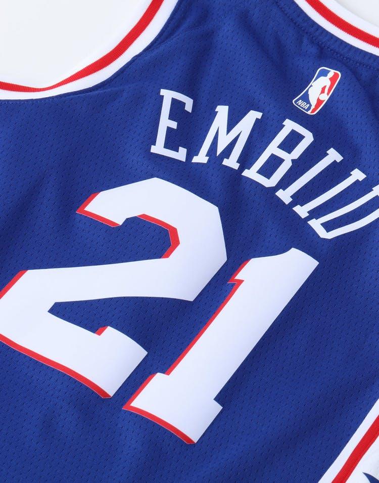 1ce3b1483f5d9 Nike Kids Philadelphia 76ers Joel Embiid #21 Icon Swingman NBA Jersey Navy
