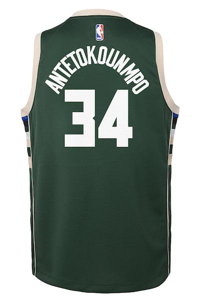 Nike Kids Milwaukee Bucks Giannis Antetokounmpo #34 Icon Swingman NBA Jersey Green
