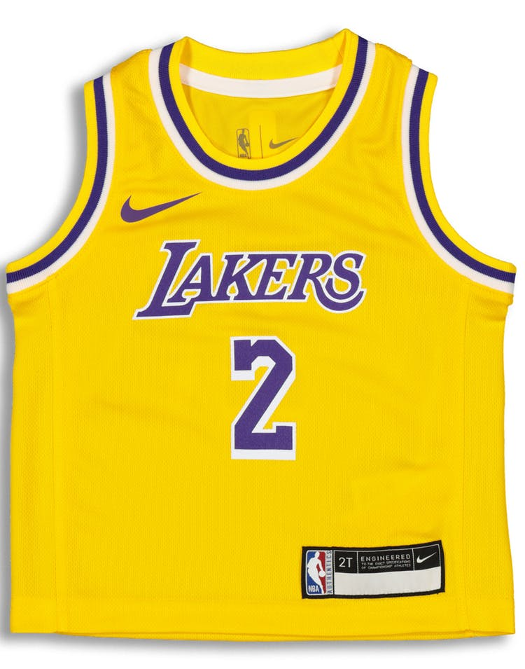 new style 22175 85206 Nike Toddler Los Angeles Lakers Lonzo Ball #2 Icon Replica NBA Jersey Yellow