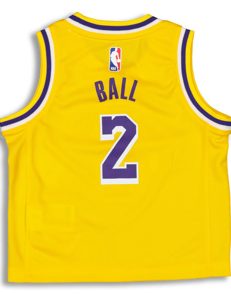 new style f7f92 55666 Nike Toddler Los Angeles Lakers Lonzo Ball #2 Icon Replica NBA Jersey Yellow