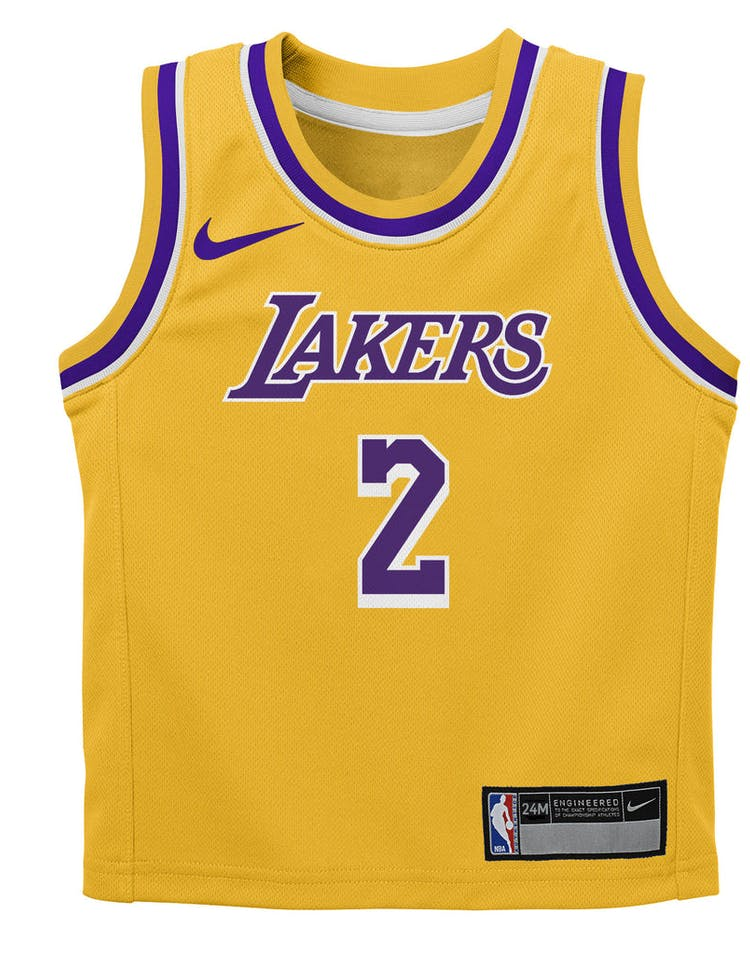 best sneakers 24ab2 c0d24 Nike Infant Los Angeles Lakers Lonzo Ball #2 Icon Replica NBA Jersey Yellow