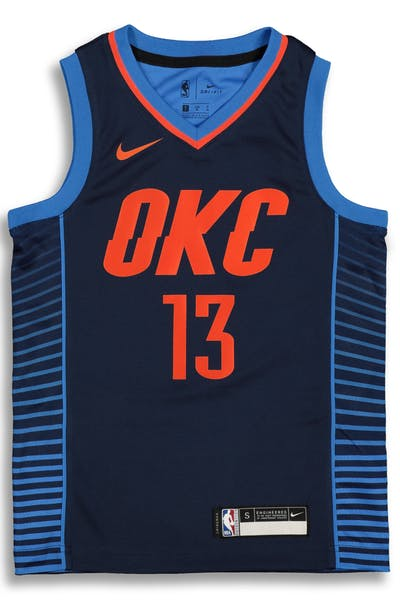 2b58efc3a25 Nike Kids Oklahoma City Thunder Paul George  13 Statement Swingman NBA  Jersey Navy
