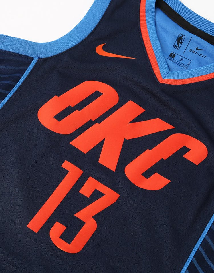 a5deb36319a Nike Kids Oklahoma City Thunder Paul George  13 Statement Swingman NBA  Jersey Navy