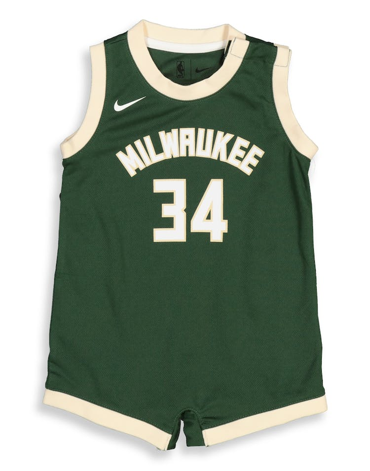 new product 9290d 48df4 Nike Infant Milwaukee Bucks Giannis Antetokounmpo #34 Replica Onesie NBA  Jersey Green