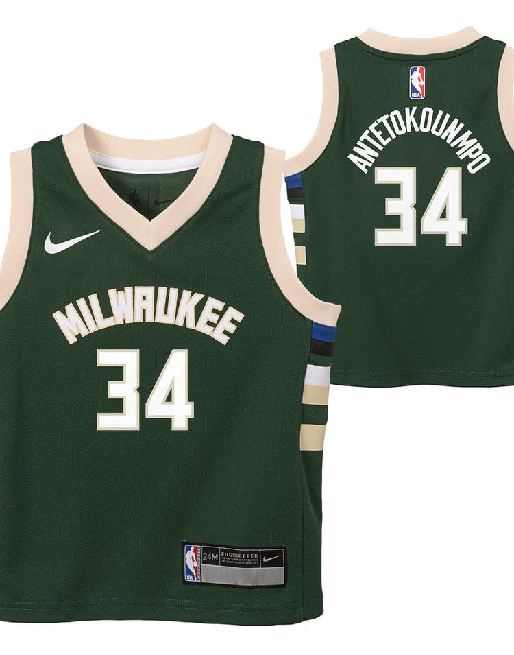 big sale 9b186 ff7ef Nike Infant Milwaukee Bucks Giannis Antetokounmpo #34 Icon Replica NBA  Jersey Green