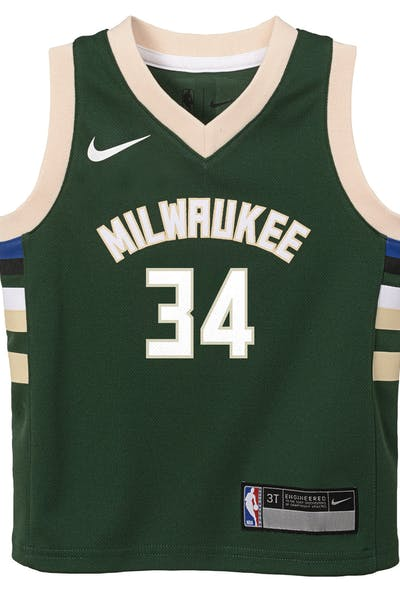 0aa3d5a504f Kids. Nike Toddler Milwaukee Bucks Giannis Antetokounmpo  34 Icon Replica  NBA Jersey Green