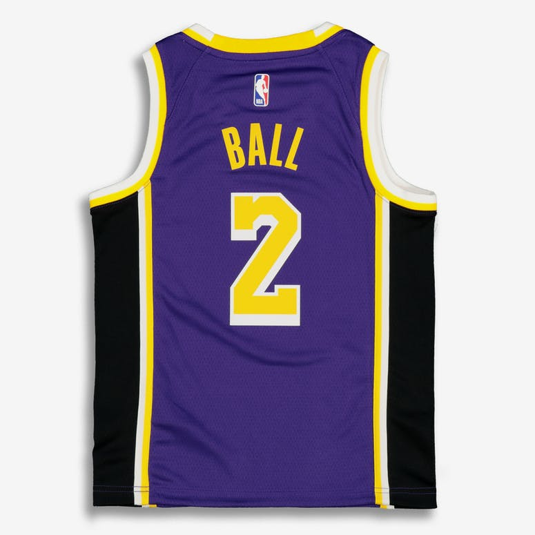 Nike Kids Los Angeles Lakers Lonzo Ball #2 Statement Swingman NBA Jersey Purple