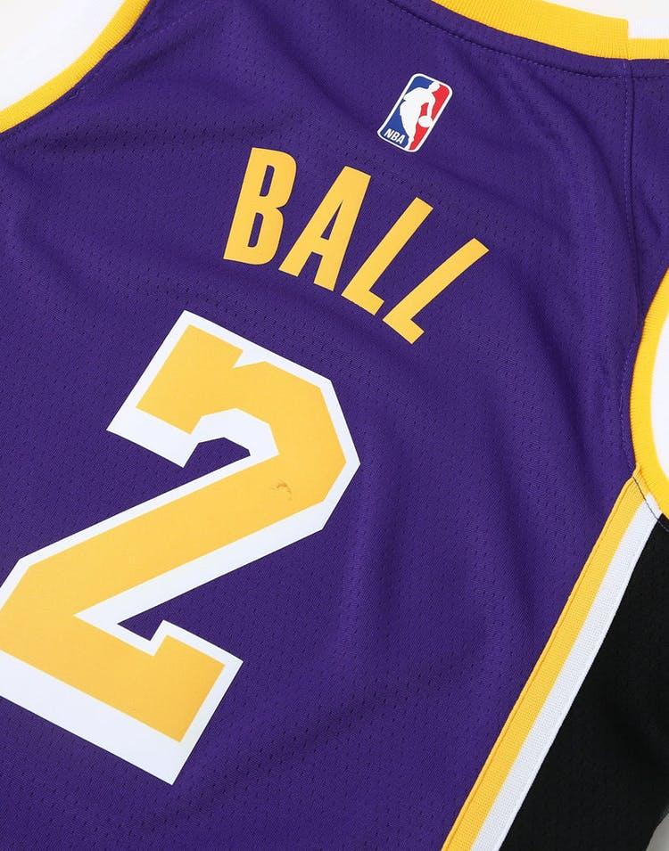 87a55dd56 Nike Kids Los Angeles Lakers Lonzo Ball  2 Statement Swingman NBA Jersey  Purple