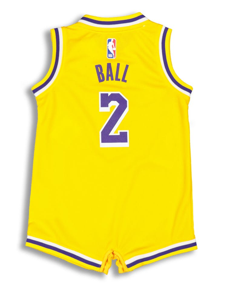 59497e8196e4 Nike Infant Los Angeles Lakers Lonzo Ball  2 Replica Onesie NBA Jersey  Yellow