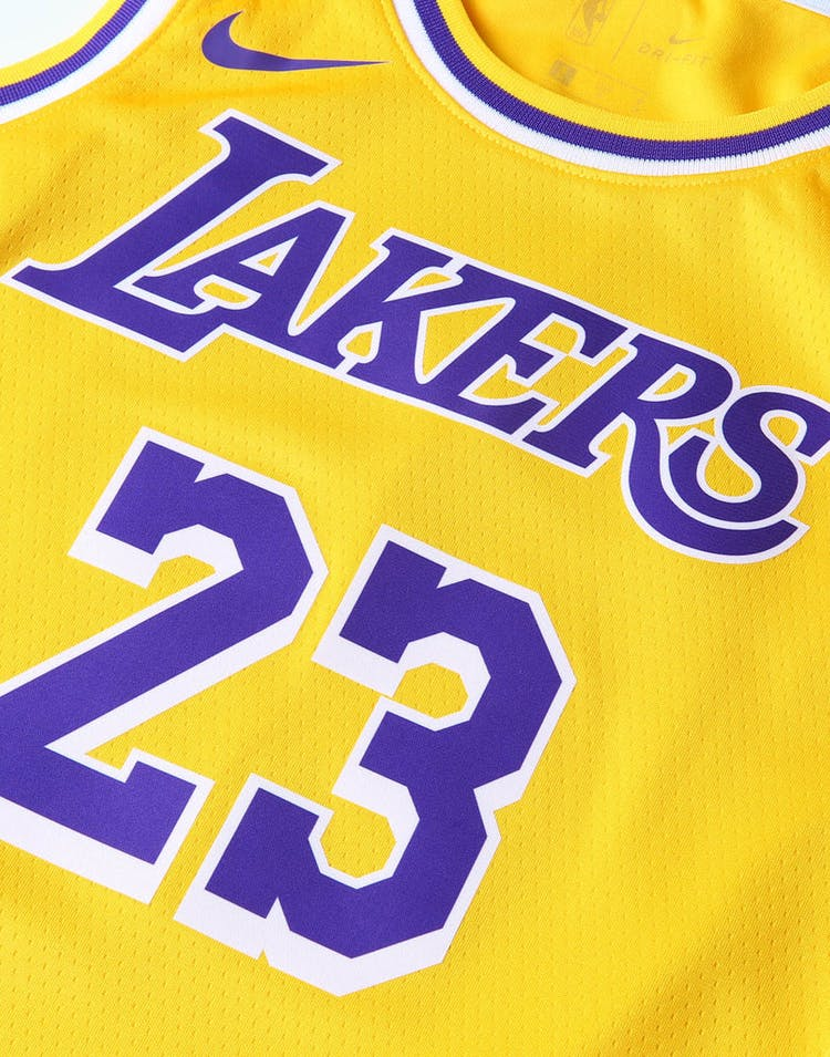 in stock 2b1f1 92949 Nike Kids Los Angeles Lakers LeBron James #23 Icon Swingman NBA Jersey  Yellow